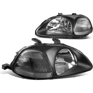 SK-Import Scheinwerfer JDM Style Schwarzes Gehäuse Klares Glas Honda Civic Pre Facelift-57636