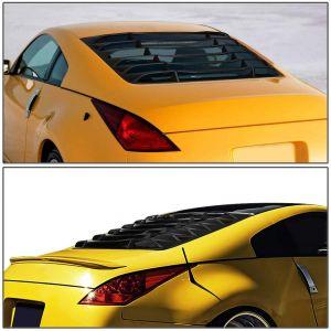 SK-Import Hinten Window Louvers Schwarz ABS Plastik Nissan 350Z-78797