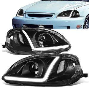 SK-Import Scheinwerfer LED Schwarzes Gehäuse Klares Glas Honda Civic Facelift-79448