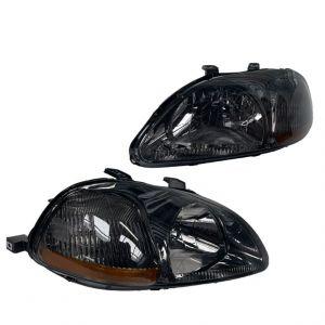 SK-Import Scheinwerfer JDM Style Amber Corner Chrom Gehäuse Getöntes Glas Honda Civic Pre Facelift-43468